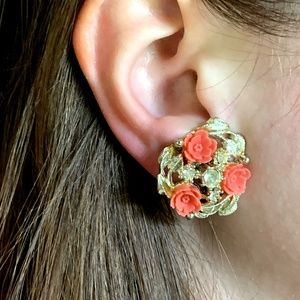 Vintage Coral Roses Rhinestones Clip Earrings